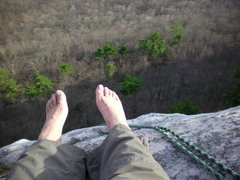 Rock Climbing Photo: taking a break from climbing shoes before rapping ...