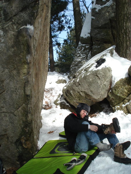 Rock Climbing Photo: Dammit...  it was cold.  But we shoveled that bad ...