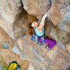 "Leah Sandvoss pulling the roof on ""Kathy's Memorial"", 5.10a at Mission Gorge, San Diego, CA"