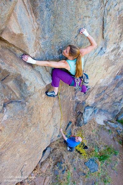 "Rock Climbing Photo: Leah Sandvoss on ""Deviate Behavior"", 5.1..."