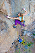 "Rock Climbing Photo: Leah Sandvoss on ""Deviate Behavior"", 5.1..."