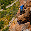 """John Tyhonas on """"The Tower"""", 5.7 at Mission Gorge, San Diego, CA"""