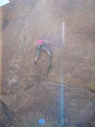 Rock Climbing Photo: Susan leaving the crack and getting to the tough s...