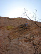 "Rock Climbing Photo: Daryl passing over the roof with heel in ""The..."