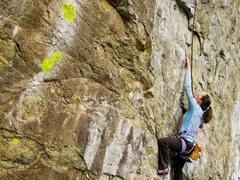 Rock Climbing Photo: Kristin cranking on Spro Dog's steep edges