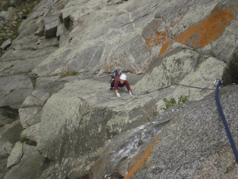 Rock Climbing Photo: Just above the crux on pitch 2 Looking down from t...