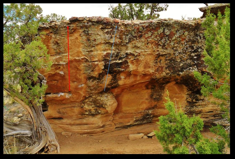 Rock Climbing Photo: The Tiers Away problem is in red.