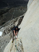 Rock Climbing Photo: Tyson rounding the corner on P2 after the second c...
