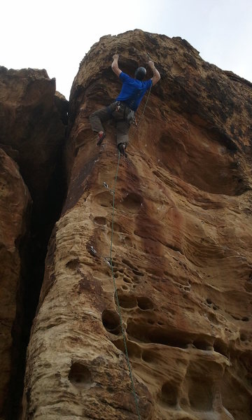 Clipping the bulge on Puppet Strings at Green Valley Gap.