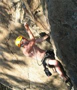 Rock Climbing Photo: Pulling to the 3rd bolt.