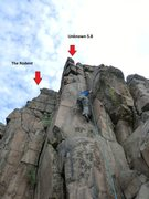 "Rock Climbing Photo: Red arrows show location for ""Unknown 5.8&quo..."
