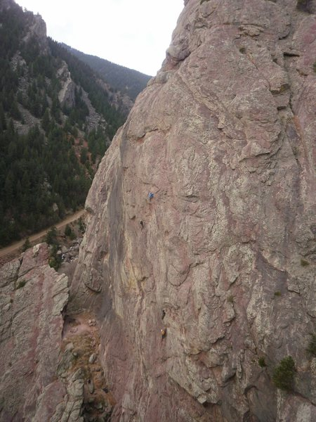 Rock Climbing Photo: One party on P3 of the Bulge and Sticky Feet lower...