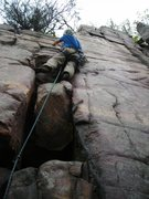 Rock Climbing Photo: Doug Hemken not using the crack itself to ascend &...