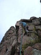 """Rock Climbing Photo: Mike Keegan on the finish of """"Unknown Rib&quo..."""