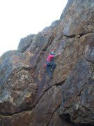 Rock Climbing Photo: Floyd Hayes leading the upper crux of Shattered Sl...