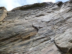 Rock Climbing Photo: The route starts up the flake in the center of the...