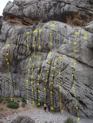 Rock Climbing Photo: Far left side of Kelly's Rock 1.  K-1 (5.10a) 2.  ...