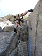 Rock Climbing Photo: Stemming up high on Pancho Villa, Conservatilly...