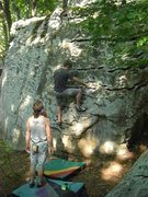 Rock Climbing Photo: Aaron on the underclings.