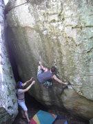 Rock Climbing Photo: Aaron getting his foot in the left heuco.