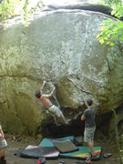 Rock Climbing Photo: Dobbe moving up Junky.
