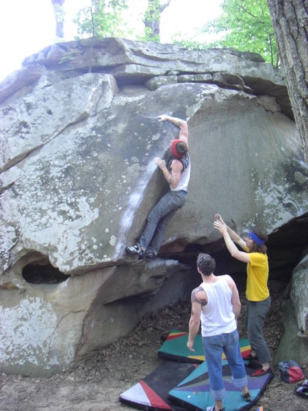 Rock Climbing Photo: Dobbe gaining the good hold.