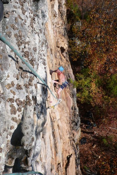 Rock Climbing Photo: Crimpin' up and left.