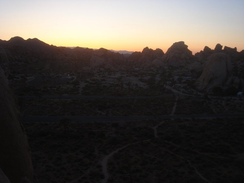 Sunset over camp from atop the Eye, Joshua Tree NP.