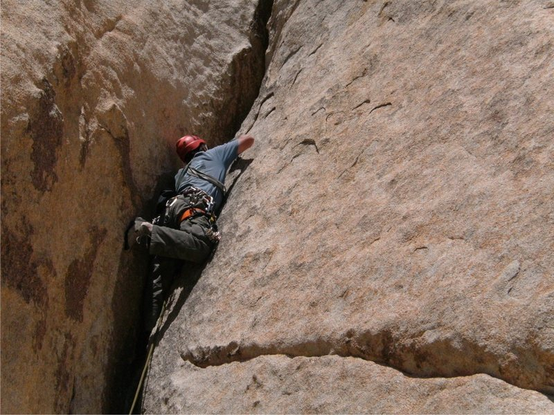 Me leading the second pitch of Mike's Books.<br> <br> photo by Sadie Welsh