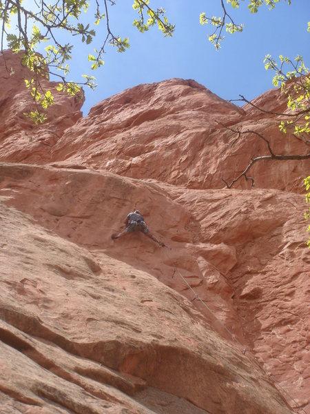 Rock Climbing Photo: Lee starting the crux.