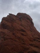 Rock Climbing Photo: Isaac passing the first bolt.