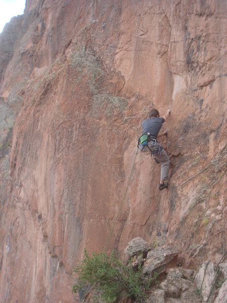 Rock Climbing Photo: David Hall starting up the long run to the first b...