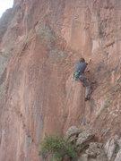 Rock Climbing Photo: David Hall starting up the long run to the first b...