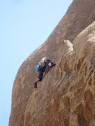 Rock Climbing Photo: Andy fiddles in some gear before the thin face abo...