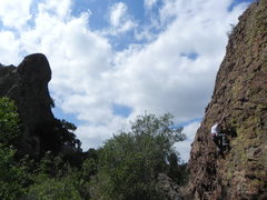 "Rock Climbing Photo:  mike newheart climbing his first ""HeadOlettu..."