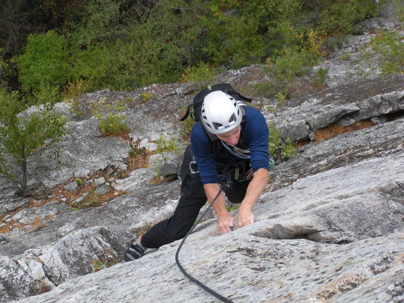Rock Climbing Photo: Gene following the Prune, October 2010