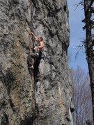 Rock Climbing Photo: Matt Bristol just below the high crux on Encryptio...