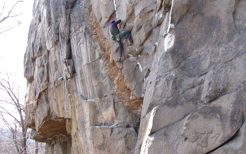 Rock Climbing Photo: Adam Lloyd on Eyeless in Gaza just below the first...