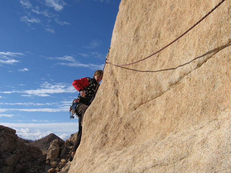 Rock Climbing Photo: John rocking the American flag jacket on the sharp...