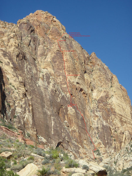 Photo of the route traced up the right side of the Black Velvet Wall