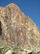 Rock Climbing Photo: Photo of the route traced up the right side of the...