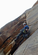 Rock Climbing Photo: Starting the interesting wide section of pitch 5