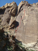 Rock Climbing Photo: View of the route with the belays marked