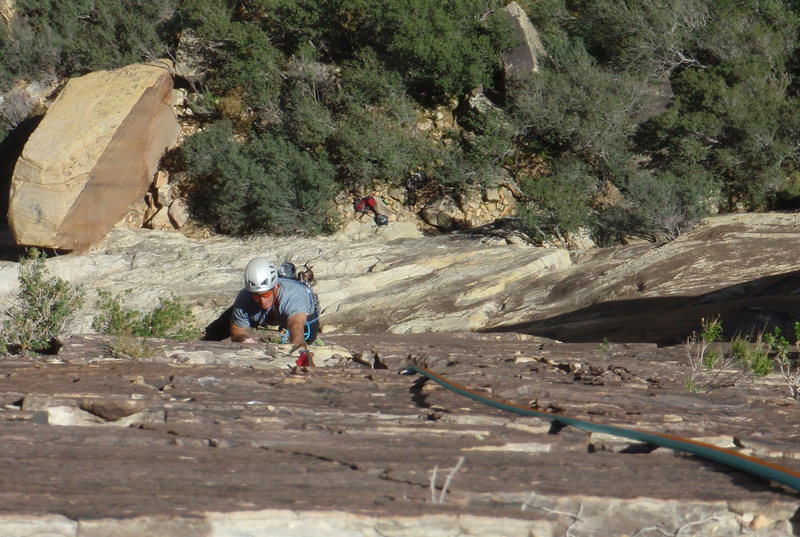 Rock Climbing Photo: Pitch 3 American Flesh Dance upper easy portion of...