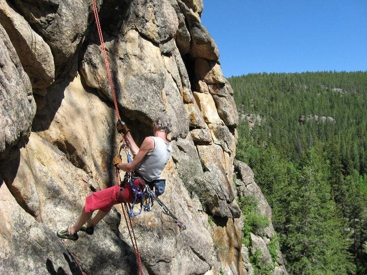 Rock Climbing Photo: Coming in for a landing, Taylor Canyon, CO