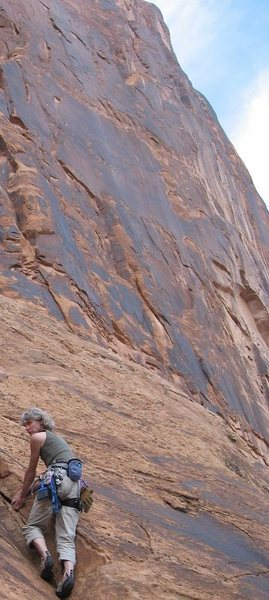Rock Climbing Photo: Warm up crack, Potash Road, UT