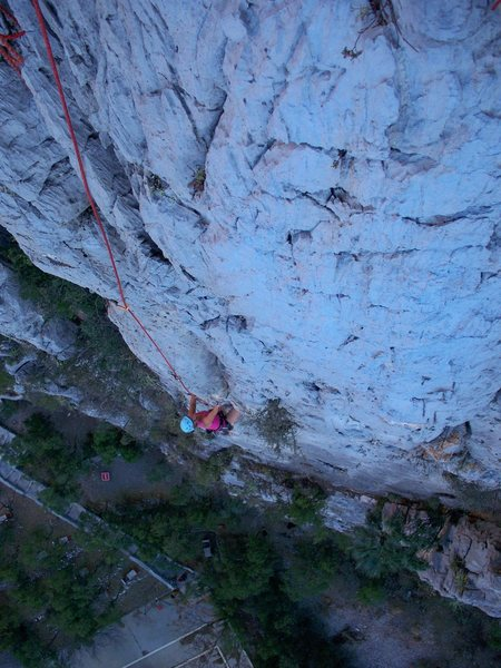 Rock Climbing Photo: Kelly Von Bargen follows pitch 3 on the FFA of Ram...