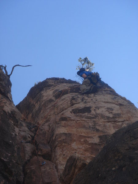 Rock Climbing Photo: Carl topping out on Awethu.
