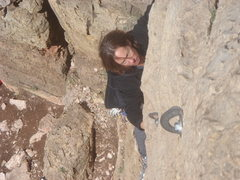 Rock Climbing Photo: Michelle leading Alexi's.