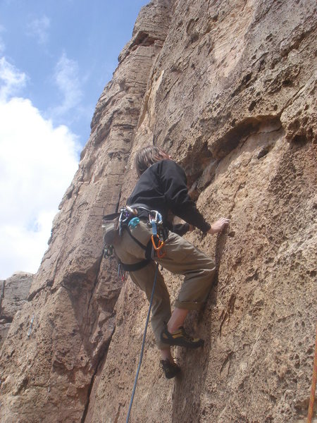 Rock Climbing Photo: Carl starting up Red Eclipse.
